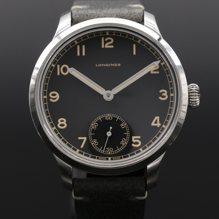 Longines Heritage Military Limited Edition Stainless Steel Stem Wind Wristwatch