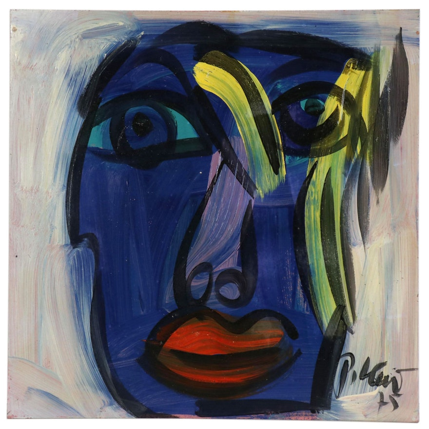 """Peter Keil Abstract Portrait Oil Painting """"Blue"""""""