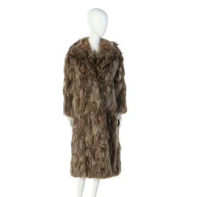 Raccoon Fur Coat with Notched Lapel Collar from I. J. Fox of Boston