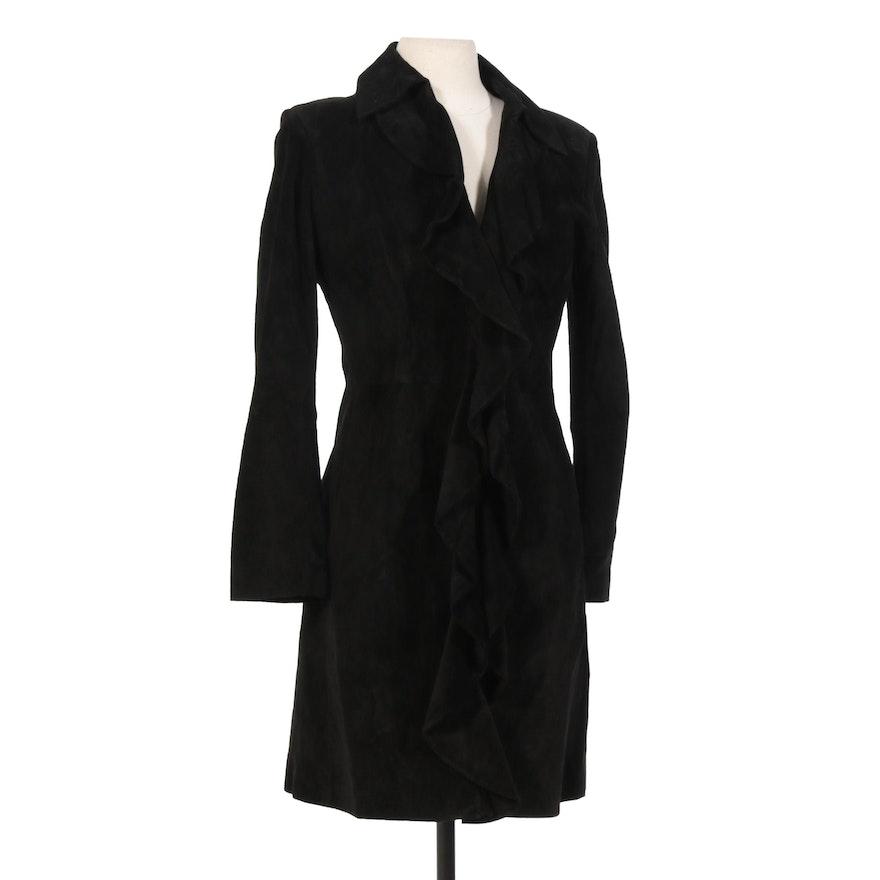 Margaret Godfrey Petite Black Suede Ruffle Open Front Jacket