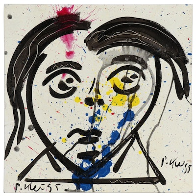 Peter Keil Abstract Portrait Oil Painting, 1995