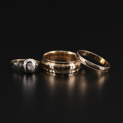10K and 14K Yellow Gold Bands and Diamond Ring