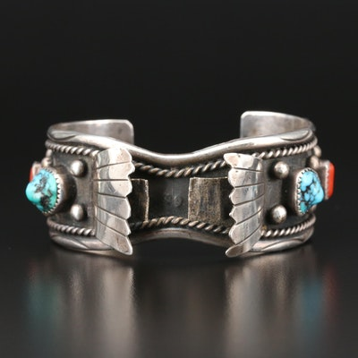 Southwestern Style Sterling Silver Turquoise and Coral Watch Cuff Bracelet