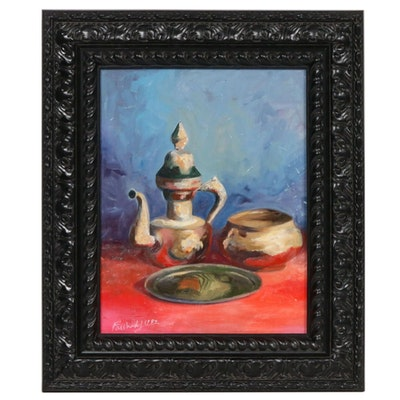 "Farshad Lanjani Oil Painting ""Still Life,"" 1989"
