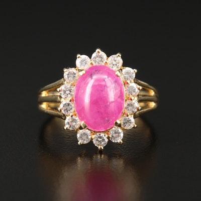 18K Yellow Gold 4.03 CT Ruby and Diamond Ring