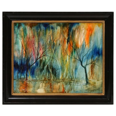 Farshad Lanjani Abstract Landscape Oil Painting, 2012