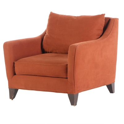 "Crate and Barrel ""Margaret"" Lounge Chair in Russet Upholstery"