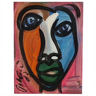 Peter Keil Abstract Portrait Oil Painting, 1983