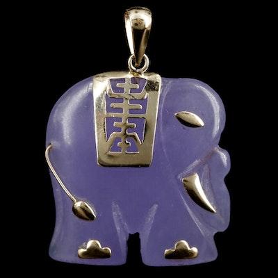 14K Yellow Gold Jadeite Carved Elephant Pendant