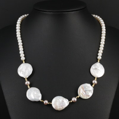 Sterling Silver Cultured Pearl Strand Necklace