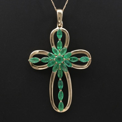 14K Yellow Gold Emerald Cross Enhancer Pendant Necklace