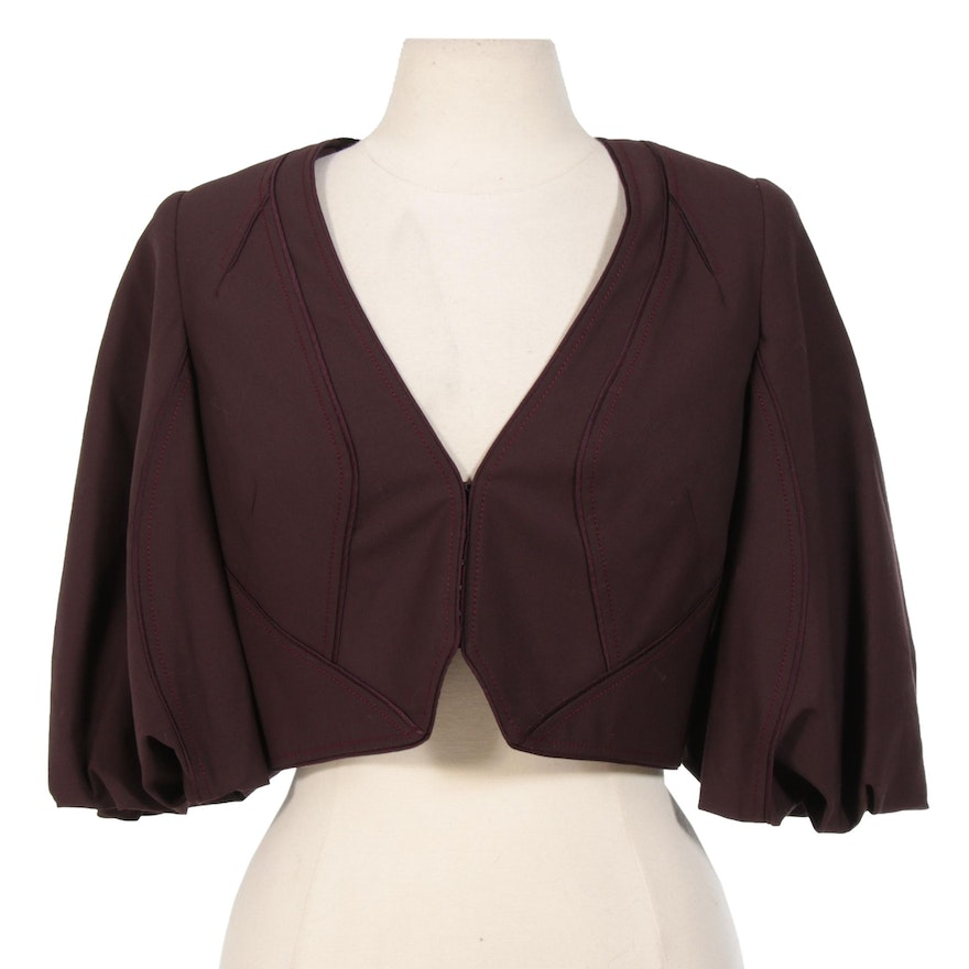 Zac Posen Wool Blend Cropped Jacket with Silk Blend Lining