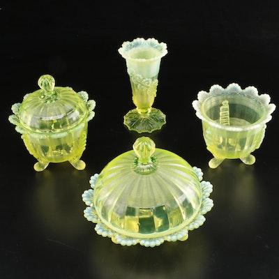 """Northwood """"Klondyke"""" Vaseline Glass Tableware"""