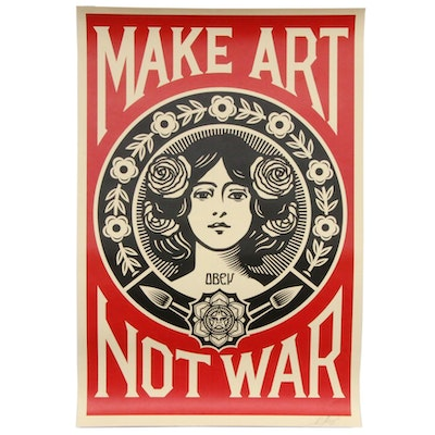 "Shepard Fairey Offset Poster ""Make Art Not War,"" 2018"