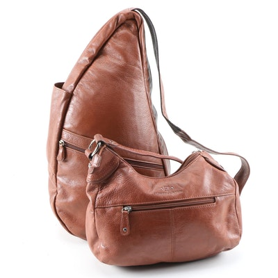 AmeriBag Sling Bag and Stone Mountain Shoulder Bag in Grained Leather