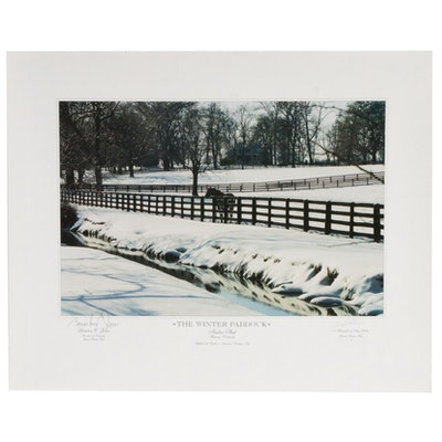 "Doug Prather Offset Lithograph ""Winter Paddock"" Signed by Brereton Jones, 1995"