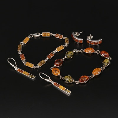 Assortment of Sterling and Amber Bracelets and Earrings