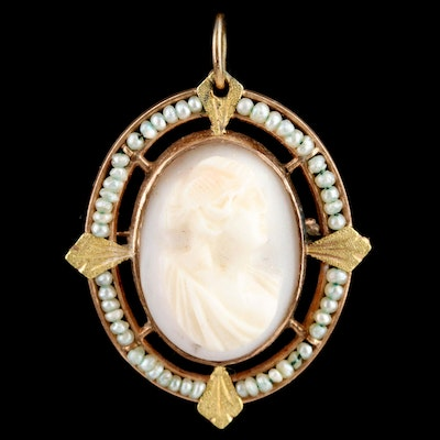 Vintage 10K Yellow Gold Conch Shell Cameo and Seed Pearl Converter Brooch