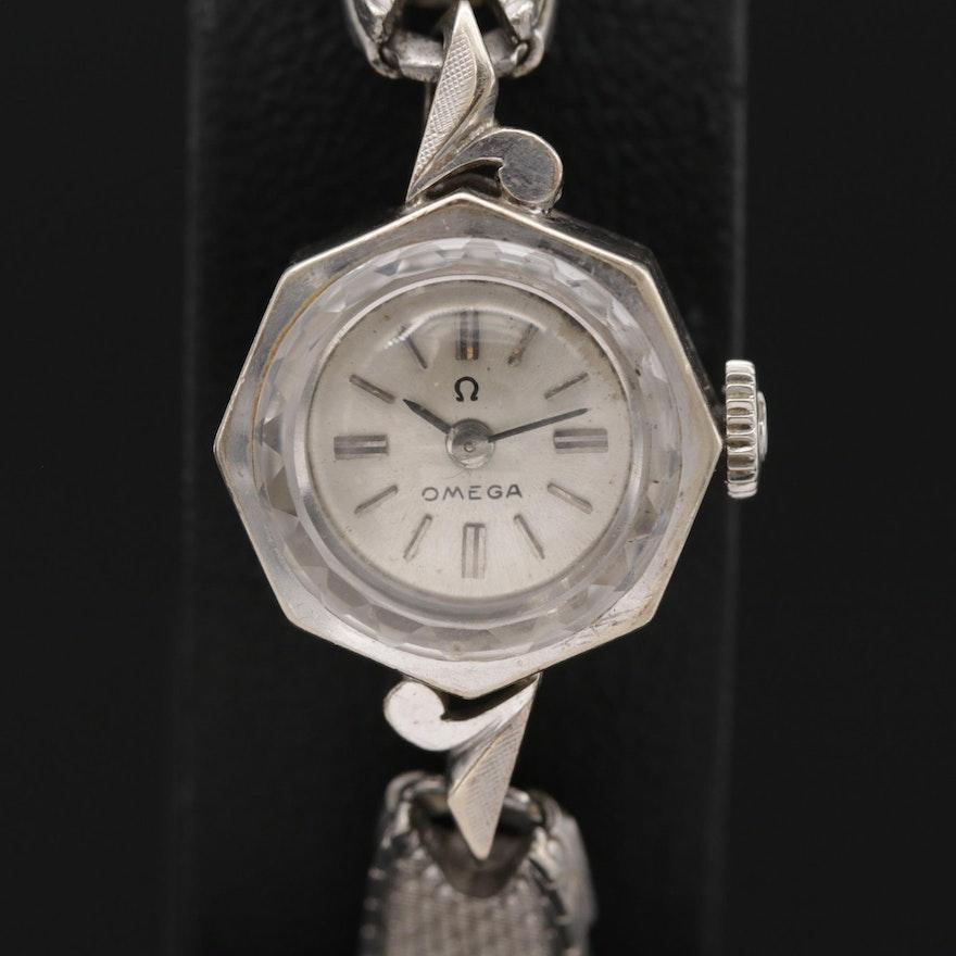 Omega 14K Gold Octagonal Shaped Stem Wind Wristwatch