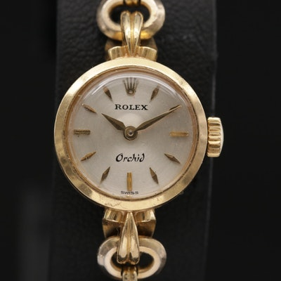Rolex Orchid 18K Gold Wristwatch with 14K Gold Scarab Bracelet, Circa 1960