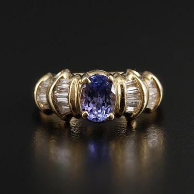14K Yellow Gold Tanzanite and Diamond Ring