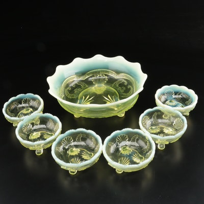 "National Glass Co. ""Manila"" Vaseline Glass Berry Set for Six, circa 1901"