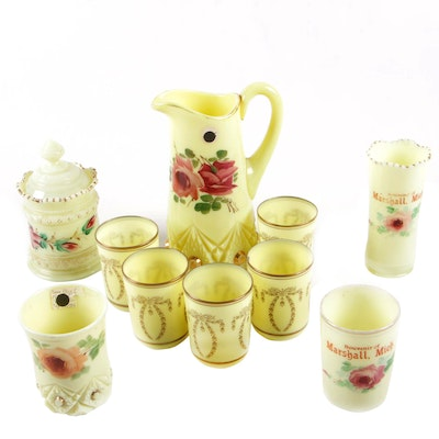 American Pressed Custard Glass Table Accessories Including Souvenir Pieces