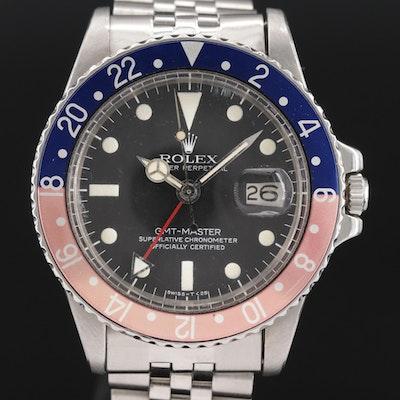 Vintage Rolex GMT Master 1675 Pepsi Bezel Stainless Steel Wristwatch, 1978
