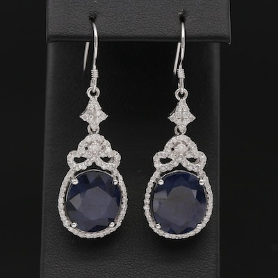 14K White Gold Sapphire and 1.14 CTW Diamond Dangle Earrings