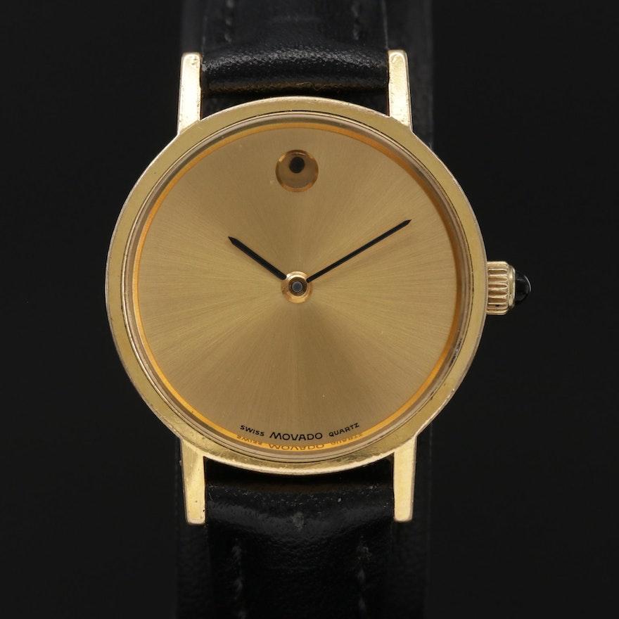Vintage Zenith Movado Museum Gold Tone Quartz Wristwatch