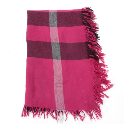 Burberry Hot Pink Large Plaid Scarf