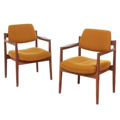 Pair of Jens Risom Mid Century Modern Walnut Armchairs