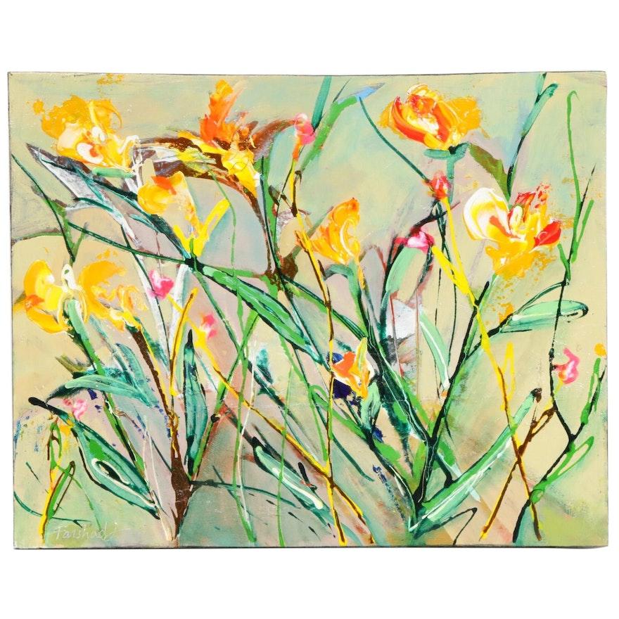 Farshad Lanjani Floral Acrylic Painting
