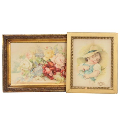 "Chromolithographs Including ""Little Boy Blue"" After Maud Humphrey"