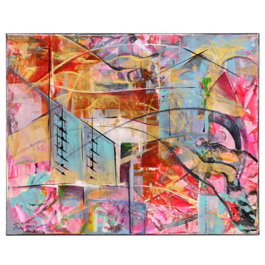 Farshad Lanjani Abstract Acrylic Painting