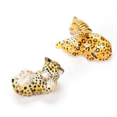 Italian Porcelain and Ceramic Leopards Figurines