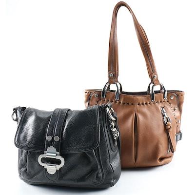 B. Makowsky Brown and Black Leather Shoulder Bags