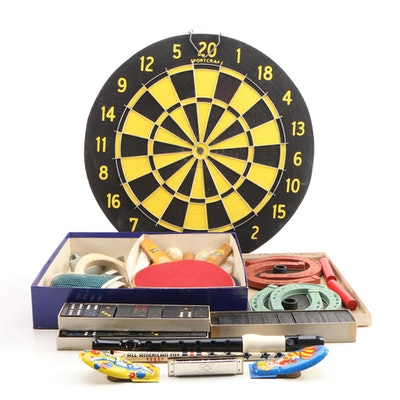 Dominoes, Ping Pong Set, Table Tennis Game and Dart Board