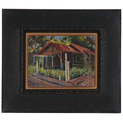 Louis Bosa Oil Painting of Landscape with Cabin
