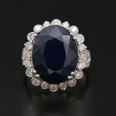 14K White Gold Blue Sapphire and 1.37 CTW Diamond Halo Ring