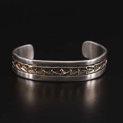 Native American Chimney Butte and Sylvia Nuguematz Sterling Cuff with 14K Accent