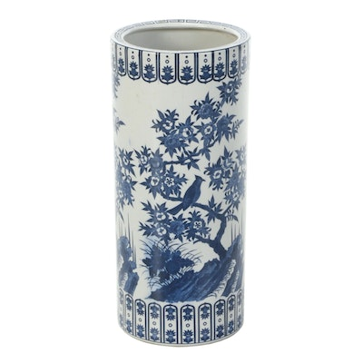 Japanese Blue and White Ceramic Umbrella Stand with Flowering Tree Motif