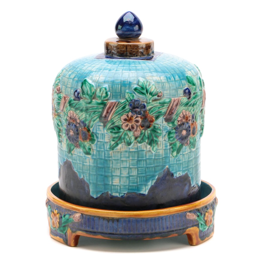 Majolica Turquoise and Cobalt Cheese Bell and Stand