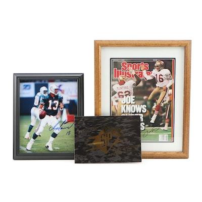 Dan Marino and Joe Montana Signed Photo Prints with SPX Promo Refractor Cards