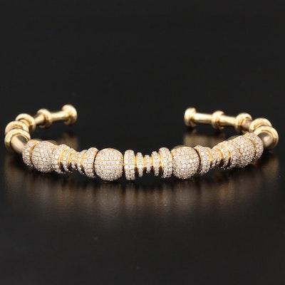 18K Yellow Gold 3.14 CTW Diamond Cuff Bracelet