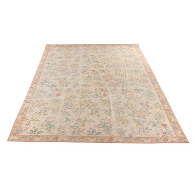 13'2 x 20'6 Handmade Needlepoint Floral Wool Room Sized Rug