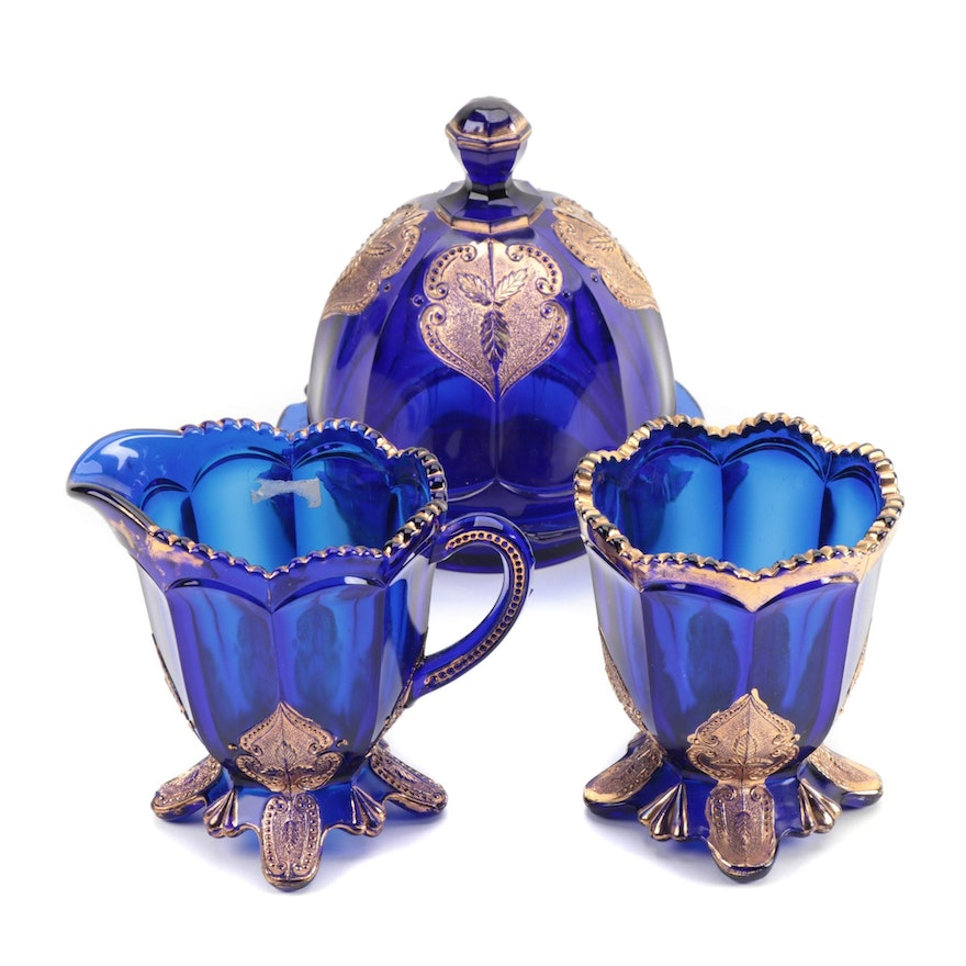 "Northwood ""Regent"" Glassware in Cobalt Blue, American, Early 20th Century"