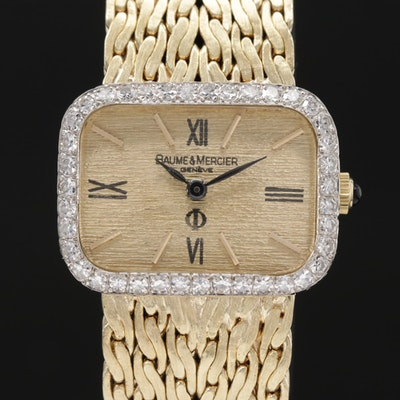 Baume & Mercier 14K Gold 1.07 CTW Diamond Bezel Wristwatch