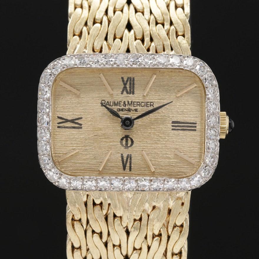 Baume & Mercier 14K Gold 1.07 CTW Diamond Bezel Wristwatch