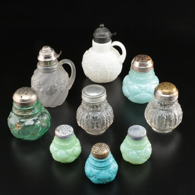 Northwood and Other Early American Pressed Glass Shakers and Syrup Pitcher